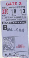 St. Louis Cardinals - 1983 Ticket Stub Opening Day