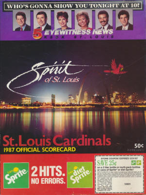 St. Louis Cardinals - 1987 Scorecard