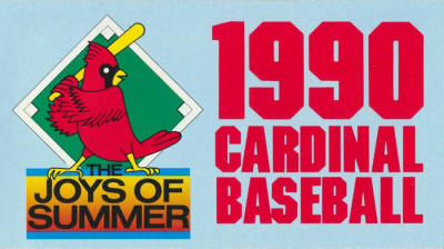 St. Louis Cardinals - 1990 Ticket info front cover
