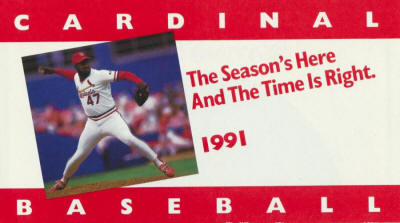 St. Louis Cardinals - 1991 Ticket info front cover