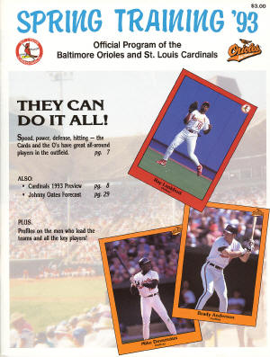 1993 St. Louis Cardinals Official Spring Training program