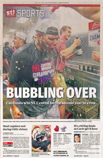 St. Louis Post-Dispatch Yadier Molina Central Division Champs - 9/29/2014