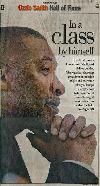 St. Louis Post-Dispatch Ozzie Smith Hall of Fame issue - 7/28/2002