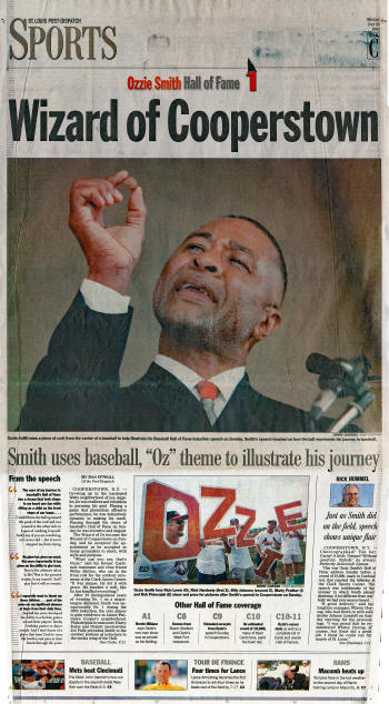 St. Louis Post-Dispatch Ozzie Smith Hall of Fame - 7/29/2002