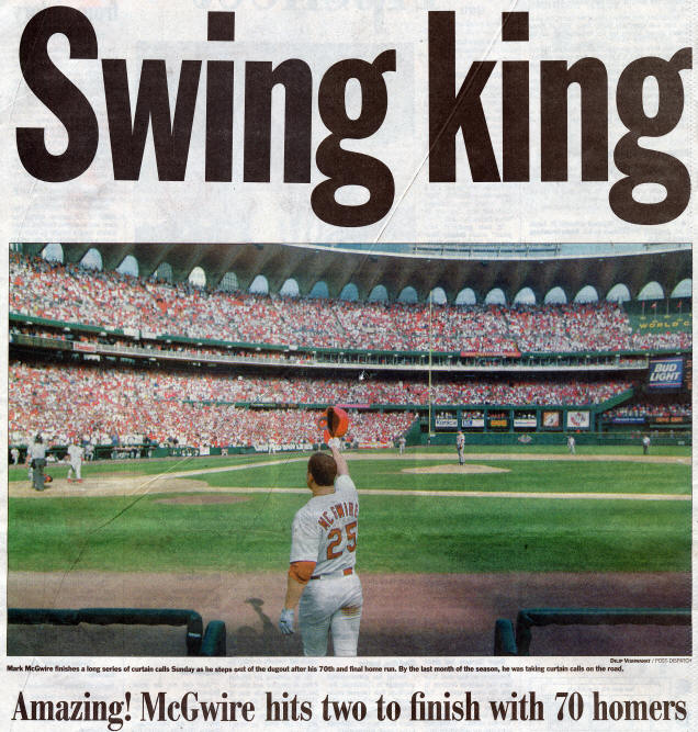 St. Louis Post-Dispatch - Mark McGwire - Swing King - 9-28-98