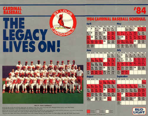 1984 St.Louis Cardinals schedule & picture