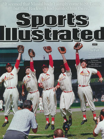 "Sports Illustrated - 1/28/13 -  ""1955 - The Man in Full - The ever sunny Musial (near right) helped the Redbirds take flight through 22 seasons, 17 of them winning ones, three championship ones."""