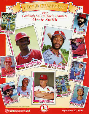1982 Cardinals Salute Their Teamate - Ozzie Smith - 9-27-1996